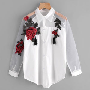 Women Spring and Autumn Casual Long sleeves lapel Embroidered flowers Tassel Detailrricdress-rricdress