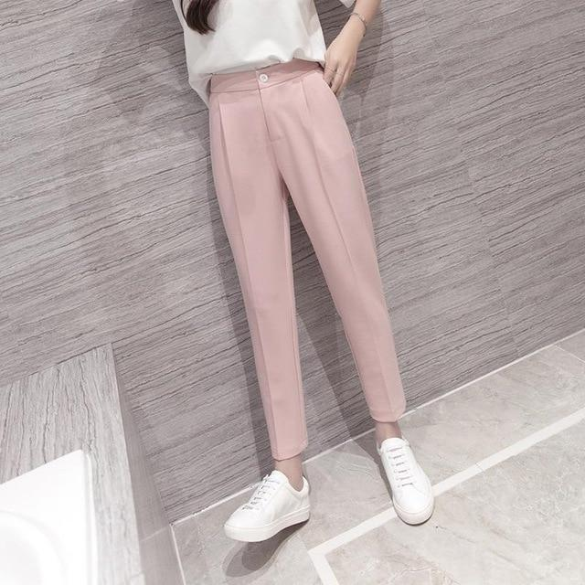 High Waist Pink Black Harem Pants Women 2018 Summer Autumn Casual rricdress-rricdress