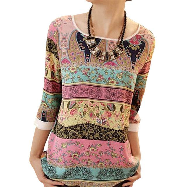 Summer Chiffon Blouse 2018 Fashion Aztec Stripe Women Blouses Lace Tops Floralrricdress-rricdress