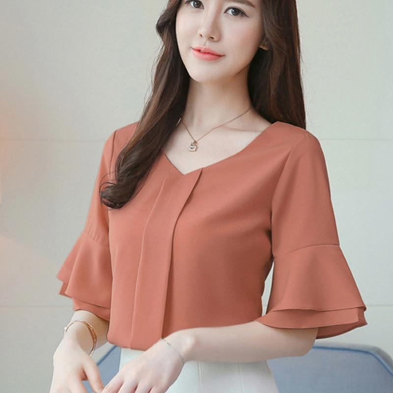 Women Tops And Blouses 2018 Summer Chiffon Blouse Short Flare Sleeve Fashionrricdress-rricdress