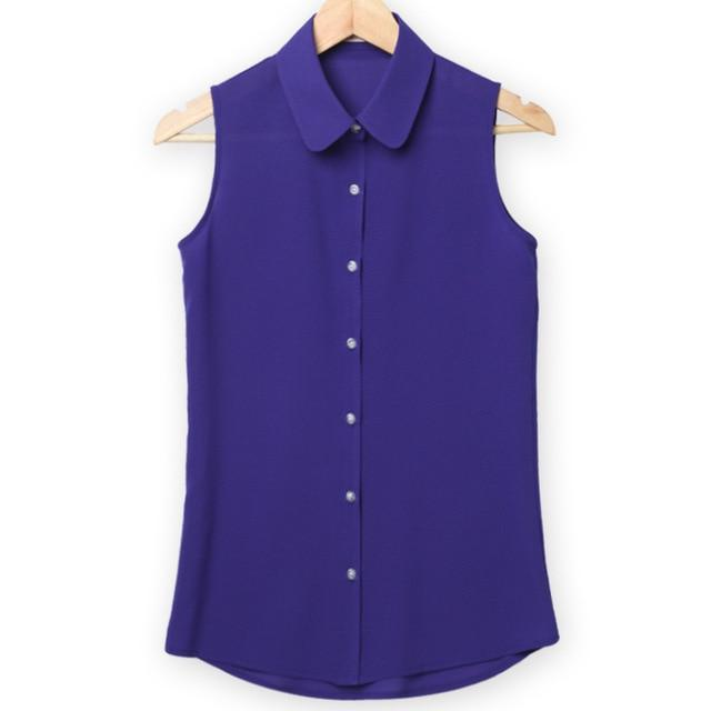 Women Sleeveless Turn-down Chiffon Blouse Summer Shirt Blusas Femeninasrricdress-rricdress