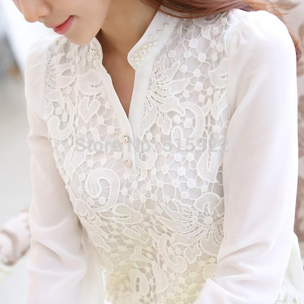 2017 New Arrival Women Lace Blouse Long sleeve Beading Crochet White Chiffonrricdress-rricdress