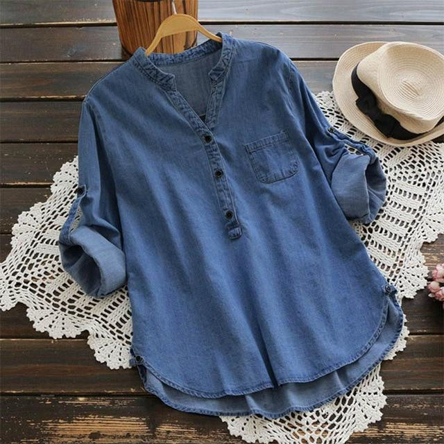 Top Fashion 2018 Vintage Solid Baggy Denim Blue Party Shirts Springrricdress-rricdress