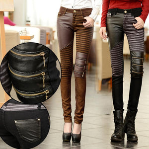 Fashion 2017 Women PU Leather Patchwork Jeans Pants Zippers Boots Trousers Longrricdress-rricdress