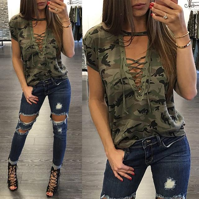 New Fashion Women Ladies Short Sleeve Camouflage Loose Blouse Summer Lace Uprricdress-rricdress
