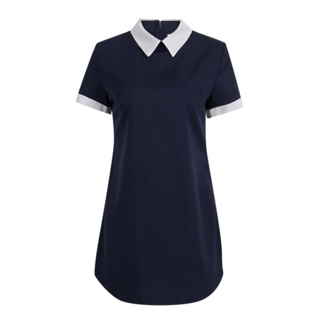 Women Sexy Summer Dress Short Sleeve Bodycon Sundress School Casual Peter Panrricdress-rricdress