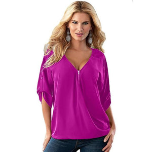 Summer Women Loose V Neck Solid Chiffon Blouse Fashion Half Sleeve Femalerricdress-rricdress