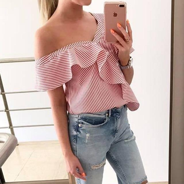 2018 Women's Casual Short sleeved Ruffled Blouse Ladies Sexy Off Shoulderrricdress-rricdress
