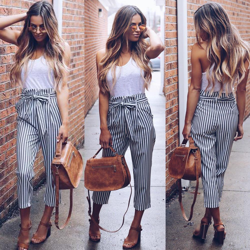 Women PinStripe High Waisted Tapered Tailored Pants Ladies Vertical Stripe Drawstring Waistrricdress-rricdress