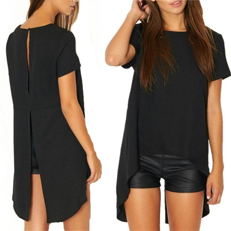 2018 Casual Women Solid Black Short Sleeve shirts Summer style Split Highrricdress-rricdress