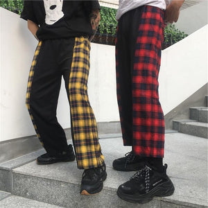 Korean Harajuku Style Pattern Stitching Pants Loose Casual Wild Men And Womenrricdress-rricdress