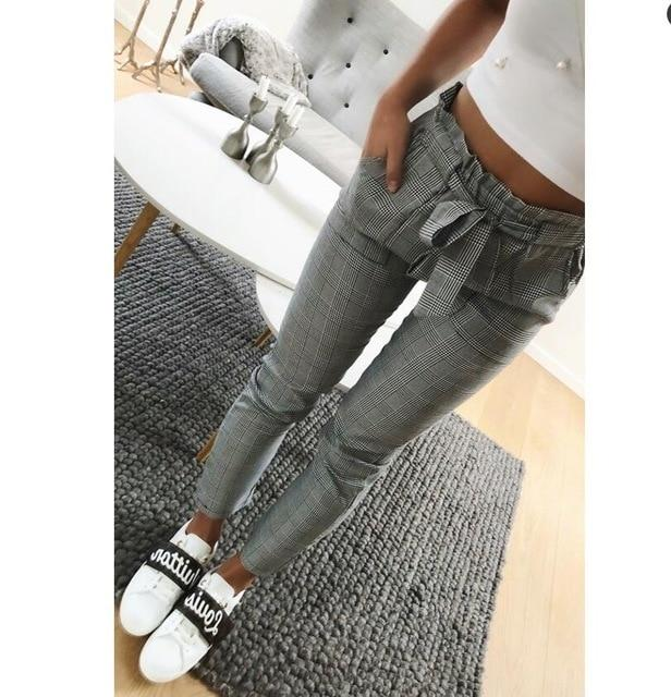 New 2018 Fashion Vintage gray grid casual pants women pants trousersrricdress-rricdress