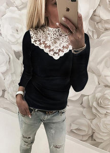 Womens Warm Long Sleeve Knitted Lace Blouse Ladies Tops Pullover Jumper Lacerricdress-rricdress
