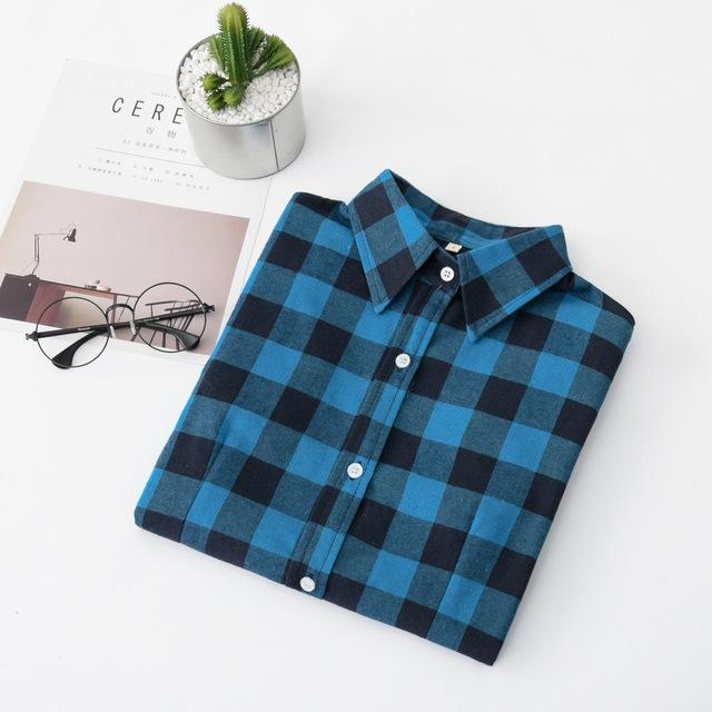 2018 New Brand Women Blouses Long Sleeve Shirts Cotton Red Black Flannelrricdress-rricdress