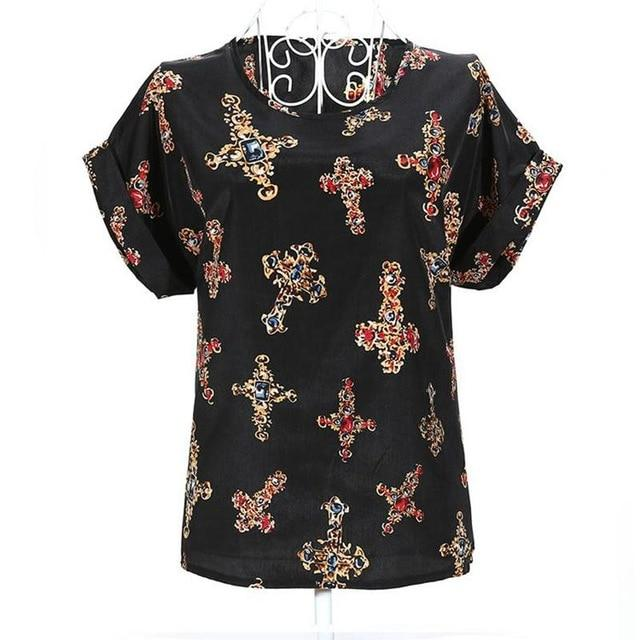 2018 new Large size women printing blouse bird bat shirt short-sleeved chiffonrricdress-rricdress