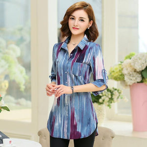 New Fashion Print Blouses Women Long Style Shirts 2018 Cotton Ladies Topsrricdress-rricdress