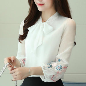 Women's Long Sleeve Chiffon Shirt women Tops 2018 Fashion Print Bow Officerricdress-rricdress