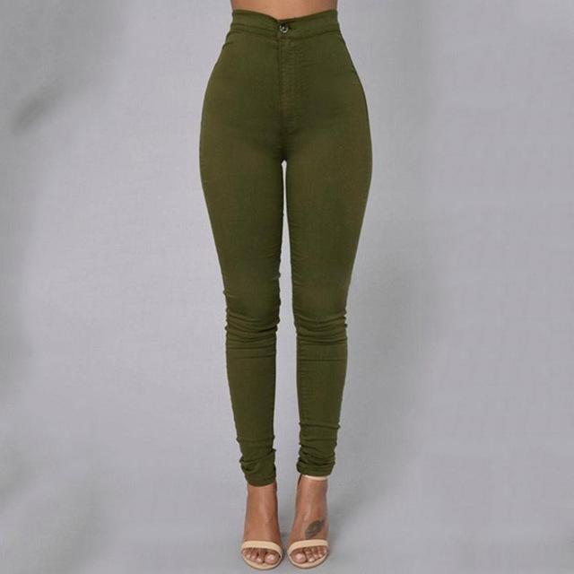 Fashion Multicolor Women Skinny Jeans High Waist Pencil Stretch Casual Lookrricdress-rricdress