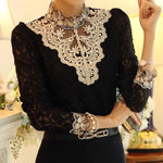 2018 new spring women elegant chic lace beading splicing stand collar blouserricdress-rricdress