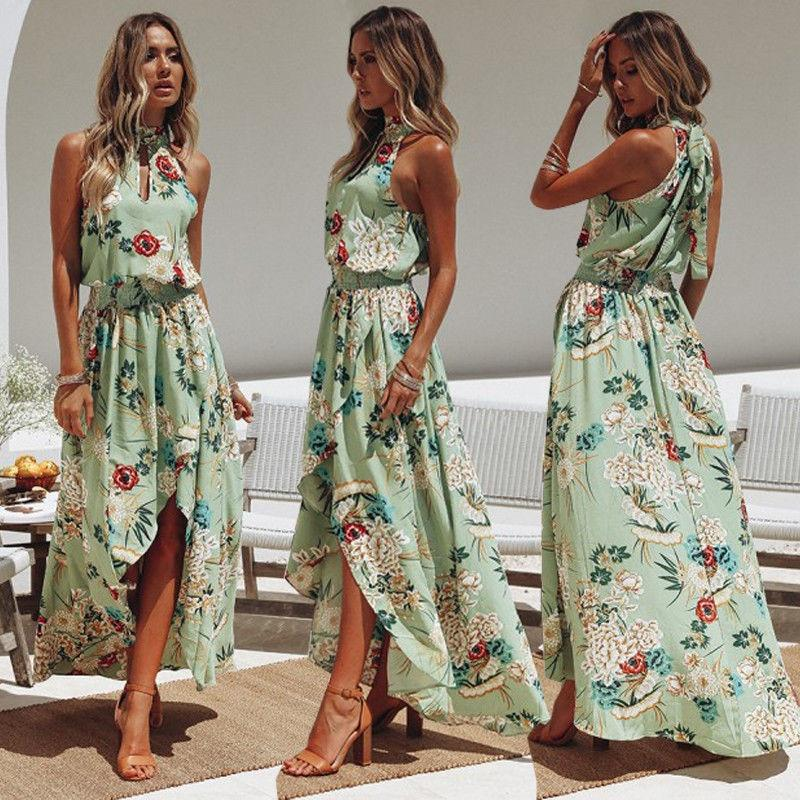 Halter Style Women Casual Loose Dress Floral Printing Sleevelss Ladies BOHO Beachrricdress-rricdress