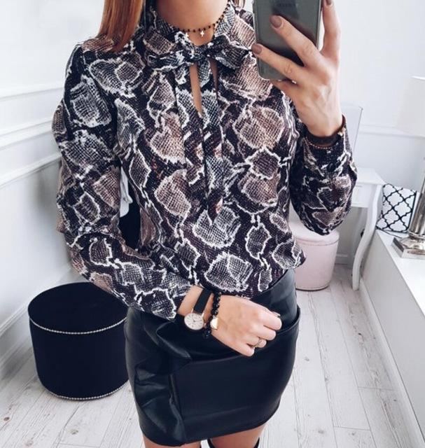 New 2018 Fashion women sexy chiffon blouses casual snake skin printed shirtsrricdress-rricdress