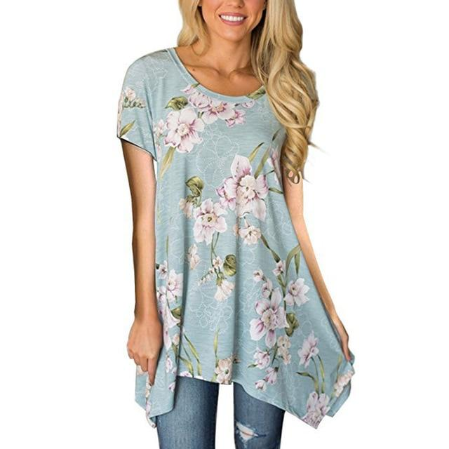 Retro Short Sleeve Women Blouse Spring Floral Printed Summer Tops 2018 Shirtsrricdress-rricdress