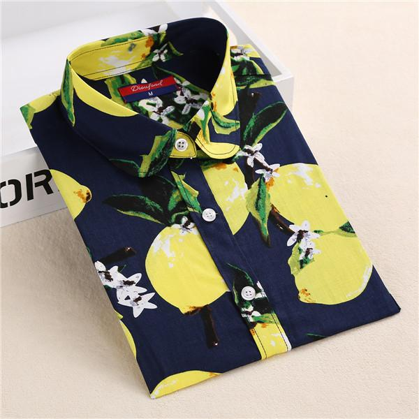 2018 Summer Cotton Women Blouses Fruit Print Shirts Long Sleeve Women Shirtrricdress-rricdress