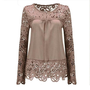2018 Summer Women White Lace Blouses Shirts Fashion Chiffon Blouses Hollow Outrricdress-rricdress