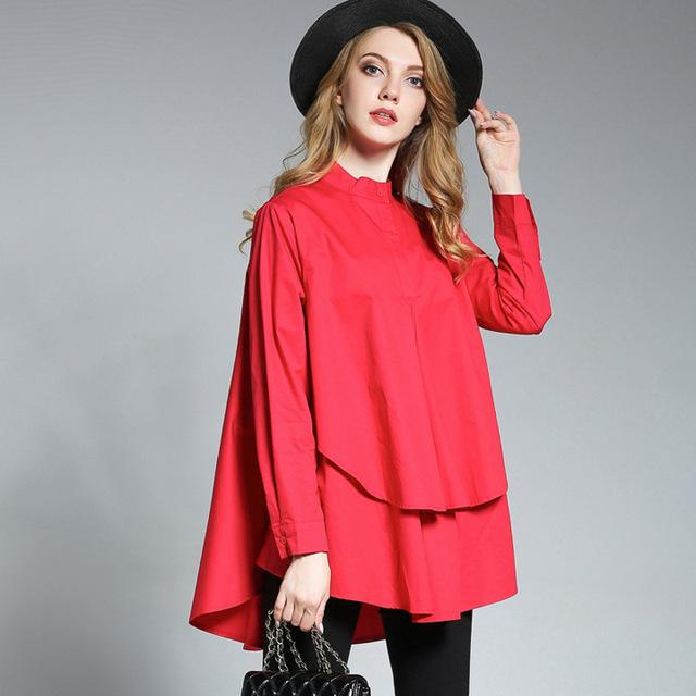 Plus size Women casual shirts Loose thin shirt Irregular shirt Long sleeverricdress-rricdress