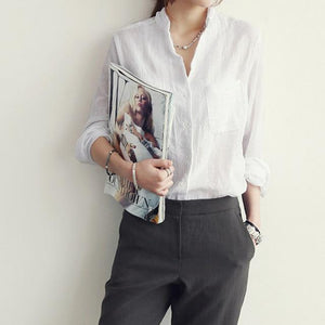 spring women Korean chic casual solid color long sleeve blouse white greyrricdress-rricdress