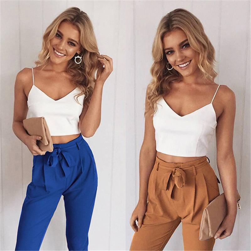 2017 Autumn Long Trousers Women Pencil Pant Bow Camis Tops + Pantsrricdress-rricdress