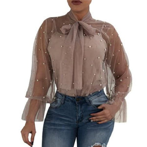 New 2018 lace blouse pearls summer sexy women top Mesh See throughrricdress-rricdress