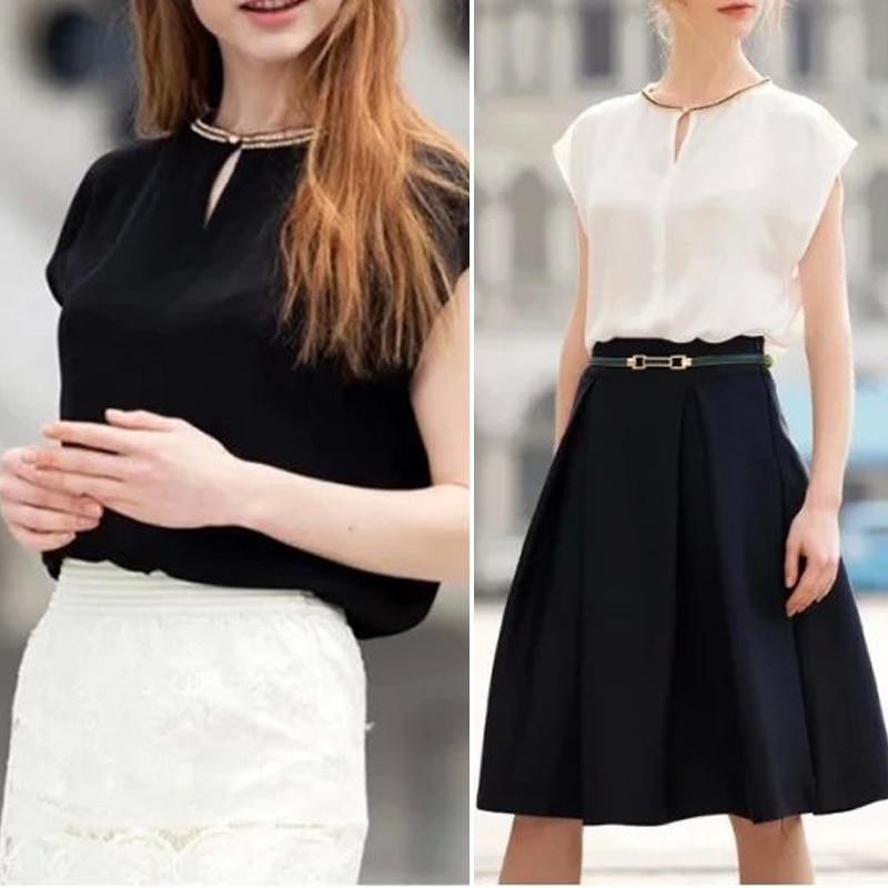 Office Lady Chiffon Blouse 2018 Summer Short Sleeve Black White Blouse Toprricdress-rricdress