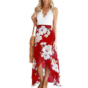 Summer style women lace long flower print patchwork dresses sexy V nackrricdress-rricdress
