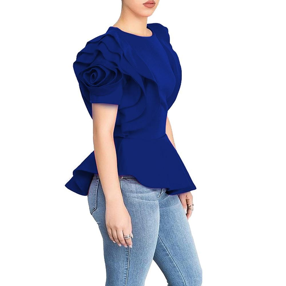 2018 Women Fashion Summer O-Neck Ruffles Sleeve Asymmetric Hem Slim Tops Blouserricdress-rricdress