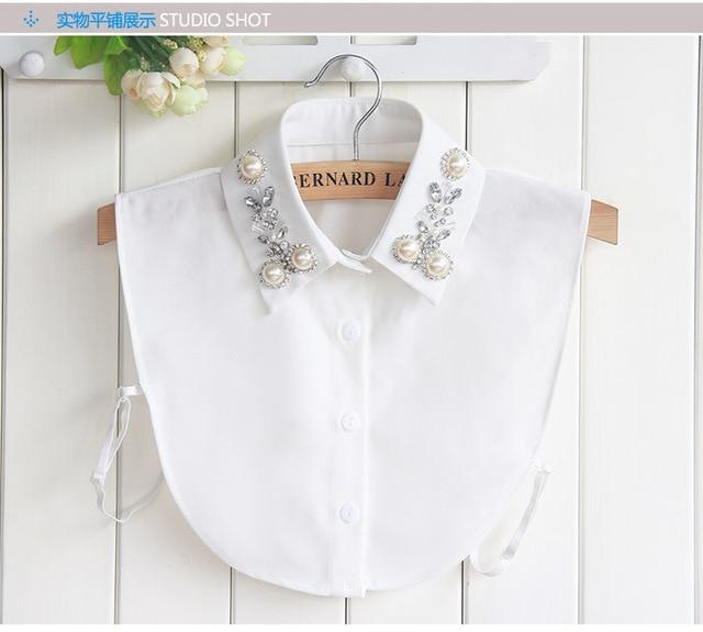 Vintage fashion White Half Shirt Detachable High-grade crystal female blouse Fake collarrricdress-rricdress