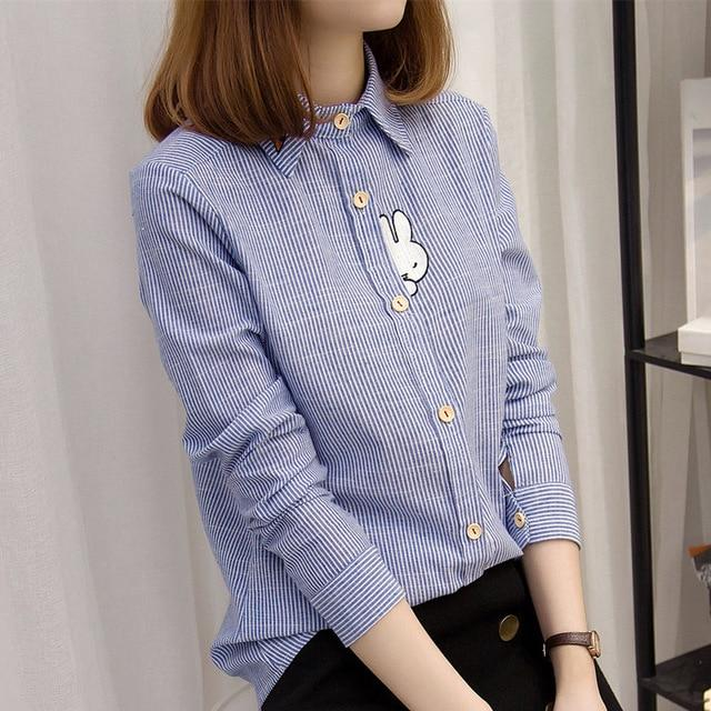 2018 Kimono Cardigan Cotton Blouse Ladies Embroidery Rabbit Carrot Collor Stripe Shirtrricdress-rricdress