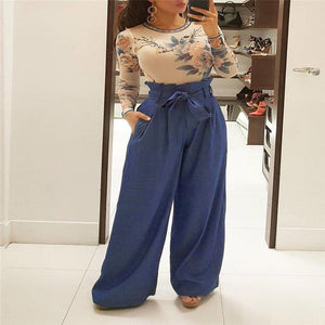 Newly Summer Fashion Casual Women Wide Leg Pants Loose Slim Solid Sashesrricdress-rricdress