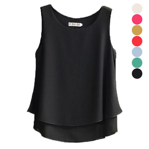 Fashion Women Summer Chiffon Blouse Sleeveless Casual Shirt O-neck Double Layers Vestrricdress-rricdress