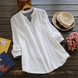 Elegant Women Summer Solid V Neck Long Sleeve Blouses Casual Buttonsrricdress-rricdress