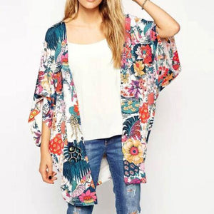 Women Blouses Summer Chiffon Blouse Women Ladies Fashion Floral Loose Shawl Kimonorricdress-rricdress