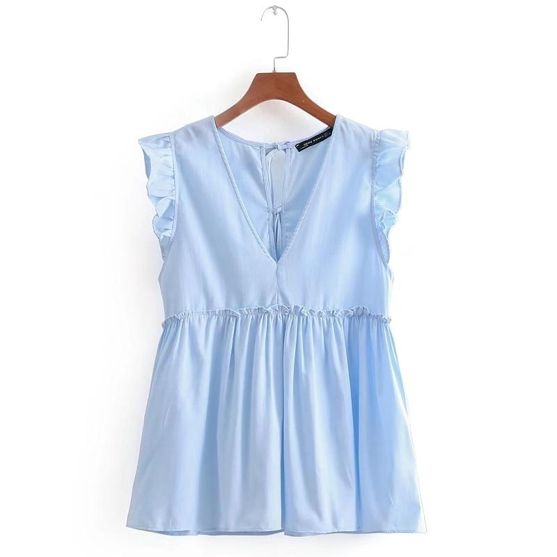 women sweet v neck sleeveless ruffles pleated casual blouse elegant agaric lacerricdress-rricdress