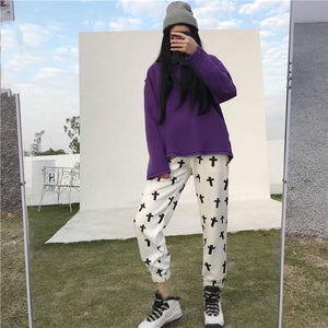 Harajuku Women Pants Cross Printed Long Trouser INS Hispter Casual Unisext Pantsrricdress-rricdress