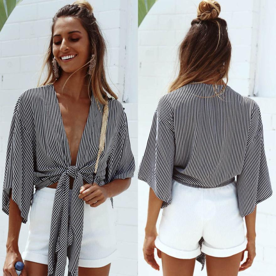 women shirt Striped Deep V Shirt Sleeve One-piece Fashion shirts Bat Sleeverricdress-rricdress