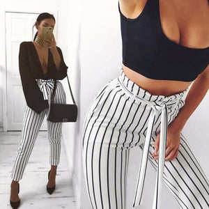White Striped Sexy Skinny Pants High Street Patchwork Pockets Elastic Waist Sashesrricdress-rricdress