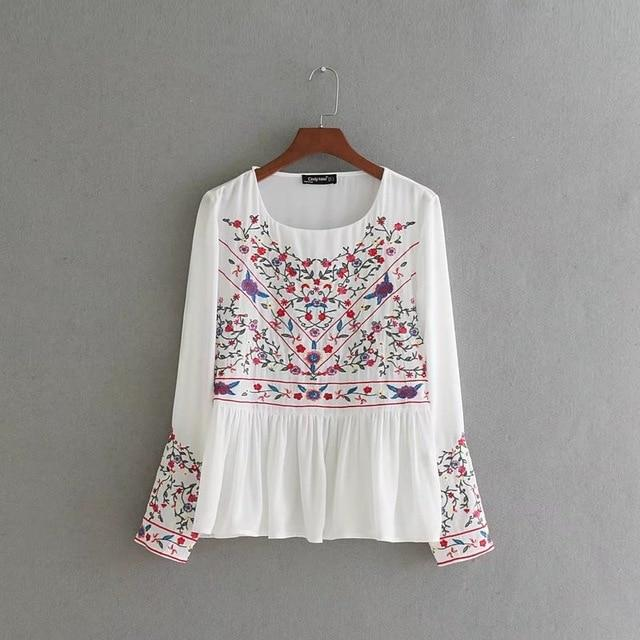 2018 women vintage national style floral embroidery shirt blouse o neck blusasrricdress-rricdress