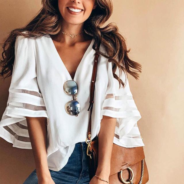 2018 Fashion Puff Sleeve White Blouse Women V Neck Woman Shirt Elegantrricdress-rricdress