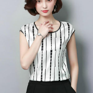 Women's Blouse 2018 Fashion Summer Sexy Casual silk Shirts Women printedrricdress-rricdress