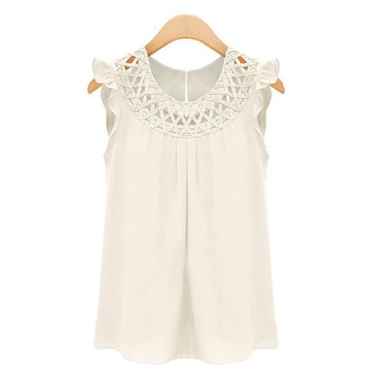 New Arrival 2018 Women Blouses Chiffon Shirts O-neck Summer Sleeveless chemiserricdress-rricdress