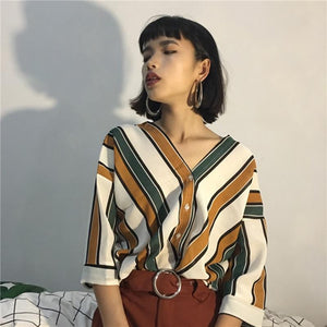 2018 New Summer Fashion Women Striped Print Blouse Sexy V-neck Batwing Sleeverricdress-rricdress